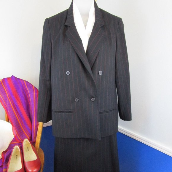 Gray Linen Suit Vintage Linen Suit 80s Suit,Pinstriped Skirt Suit